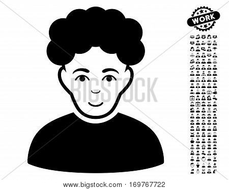 Brunet Man pictograph with bonus avatar pictures. Vector illustration style is flat iconic black symbols on white background.