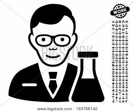 Chemist pictograph with bonus human clip art. Vector illustration style is flat iconic black symbols on white background.