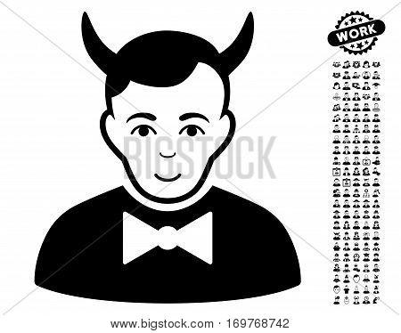 Devil icon with bonus people icon set. Vector illustration style is flat iconic black symbols on white background.