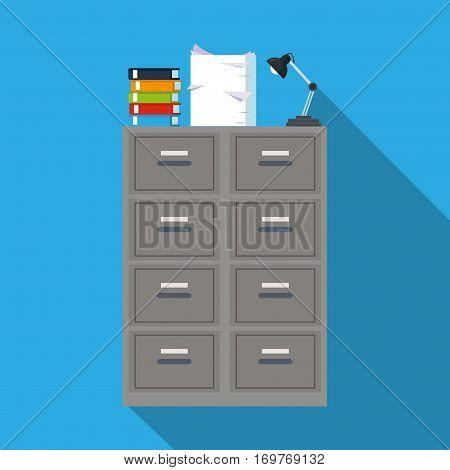 cabinet file archive books document lapm office blue background vector illustration eps 10