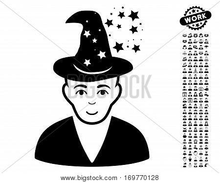 Magic Master icon with bonus men graphic icons. Vector illustration style is flat iconic black symbols on white background.
