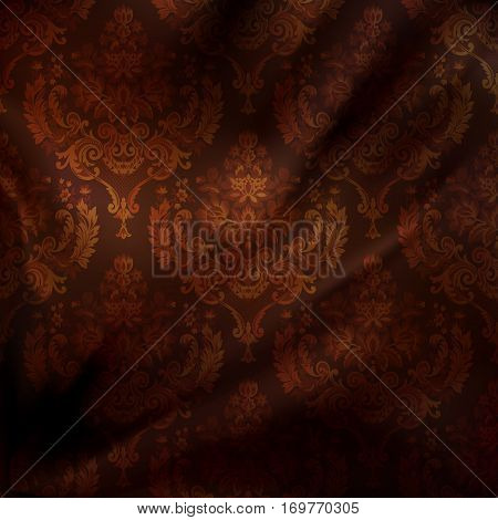 Decorative silk background with old-fashioned floral patterns.