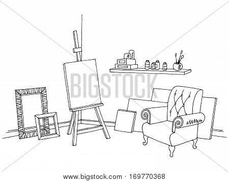 Art workshop graphic black white interior sketch illustration vector