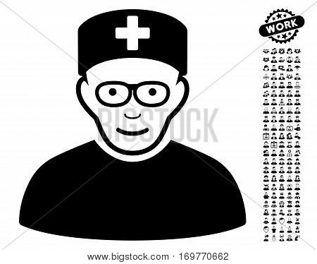 Medical Specialist pictograph with bonus human images. Vector illustration style is flat iconic black symbols on white background.