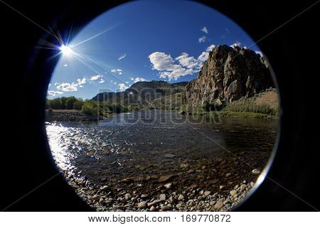 Fish eye view of the river on a sunny day