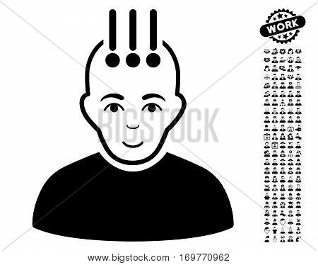 Neural Interface pictograph with bonus human pictures. Vector illustration style is flat iconic black symbols on white background.