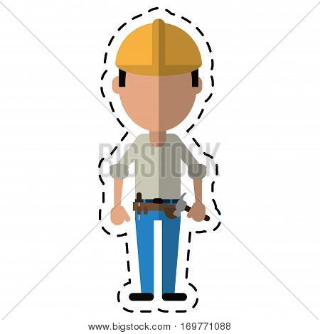 construction man helmet tool belt hammer-cut line vector illustration eps 10