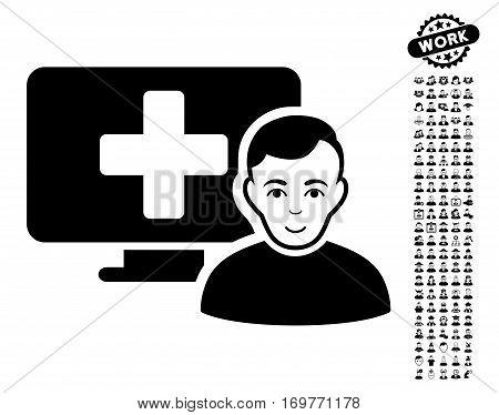 Online Medicine icon with bonus human images. Vector illustration style is flat iconic black symbols on white background.