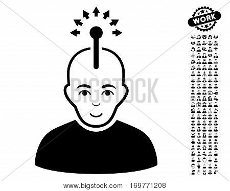 Optical Neural Interface icon with bonus occupation images. Vector illustration style is flat iconic black symbols on white background.