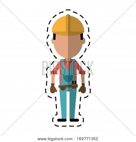 construction man with tool belt gloves-cut line vector illustration eps 10