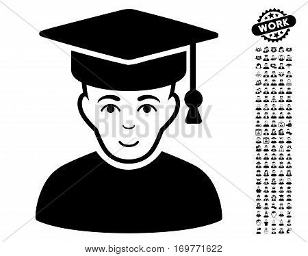 Professor icon with bonus avatar pictures. Vector illustration style is flat iconic black symbols on white background.