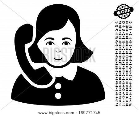 Receptionist icon with bonus people clip art. Vector illustration style is flat iconic black symbols on white background.