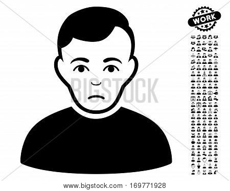 Sad Man icon with bonus people pictures. Vector illustration style is flat iconic black symbols on white background.