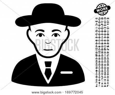 Secret Service Agent pictograph with bonus occupation graphic icons. Vector illustration style is flat iconic black symbols on white background.