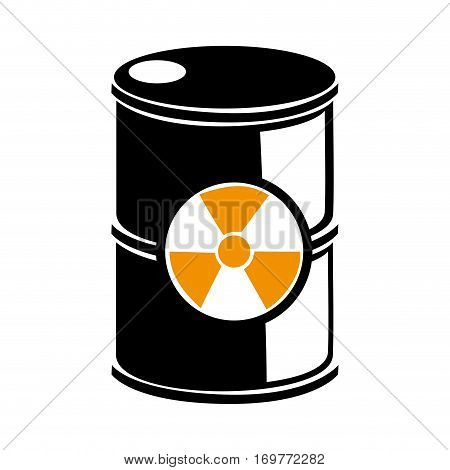 silhouette barrels with radioactive materials vector illustration