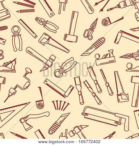 Seamless set of hand tools for productive work. Vector illustration.