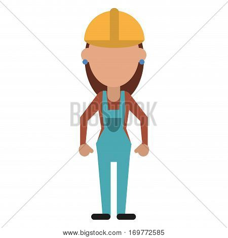 construction woman with overalls uniform vector illustration