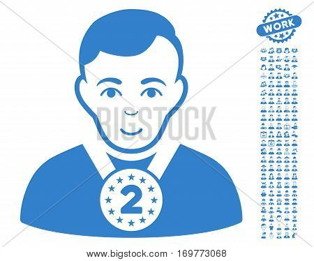 2nd Prizer Sportsman icon with bonus human pictures. Vector illustration style is flat iconic cobalt symbols on white background.