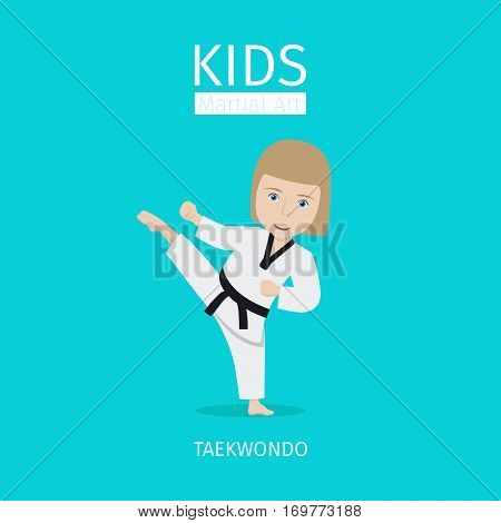 Kids martial art vector illustration. Taekwondo girl icon on blue background
