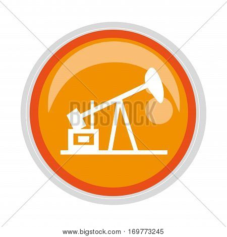 circular button with Oil extraction machine vector illustration