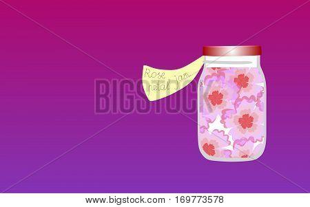 Vitamins for the Soul 5. Allegorical illustration. Medicine for the soul. Jam made of rose petals.