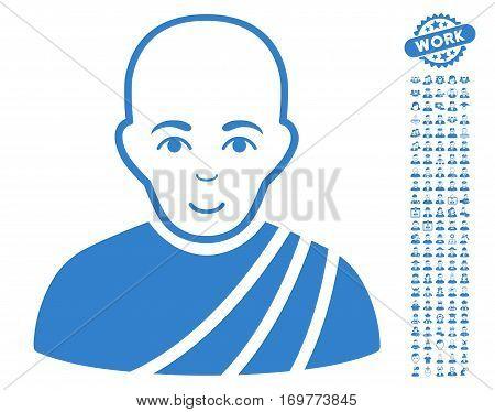 Buddhist Monk icon with bonus avatar icon set. Vector illustration style is flat iconic cobalt symbols on white background.