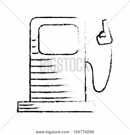 silhouette sketch blurred bio fuel station vector illustration