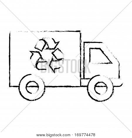 silhouette sketch blurred transport truck with vagon and recycling symbol vector illustration
