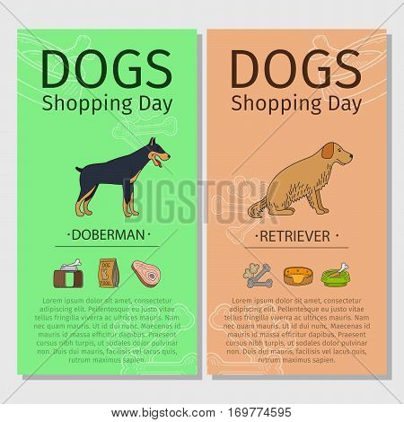 Dogs Shopping day flyers. Doberman and Retriever dog breeds. Vector illustration