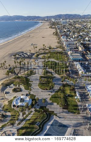 Los Angeles, California, USA - December 17, 2016:  Aerial of Venice beach boardwalk and park facilities on the Pacific Coast.