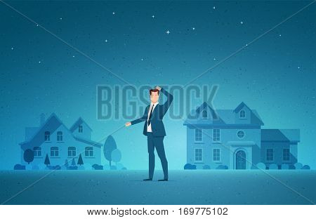 Business concept vector illustration. Real estate, investment opportunity, choice and to decide concept. Elements are layered separately in vector file.