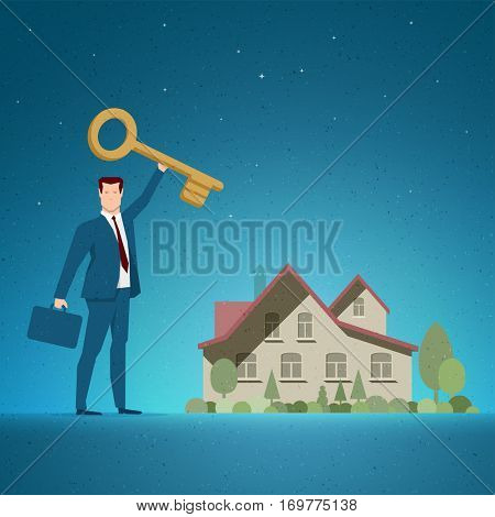Business concept vector illustration. Investing, real estate, investment opportunity, selling or buying concept. Elements are layered separately in vector file.