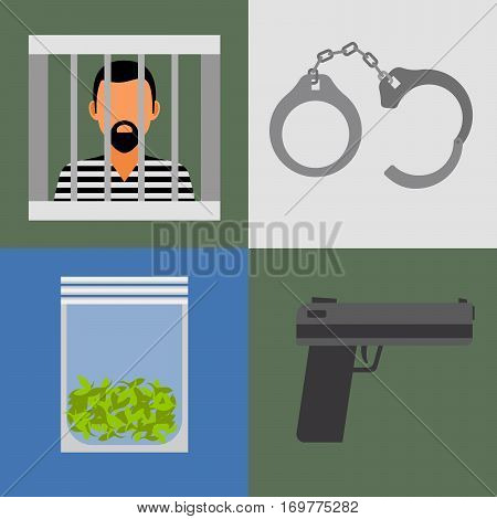 Gun, prison and drugs colored vector icons set