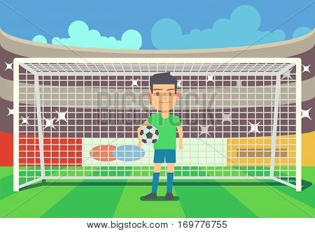 Soccer goalkeeper keeping goal on arena vector illustration. Football keeper in frame