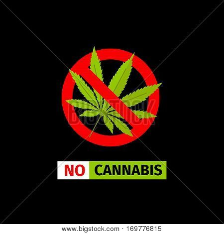 Vector forbidding sign on the black background. No Cannabis