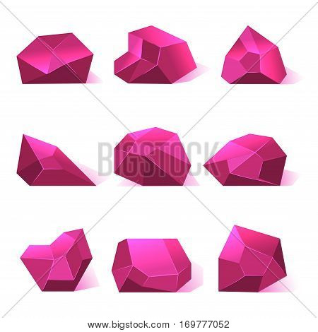 Pink vector crystals precious stones for game apps. Diamond for gui illustration