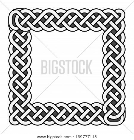 Square celtic knots vector medieval frame in black and white. Traditional ethnic irish knot border illustration