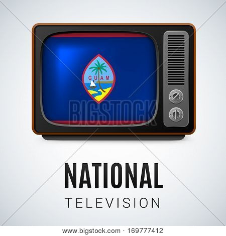 Vintage TV and Flag of Guam as Symbol National Television. Tele Receiver with flag design