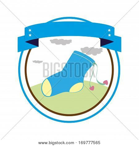 circular border with label and sock for a baby boy vector illustration