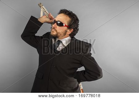 Dark businessman, aggressive lawyer with Japanese sword, defiant and defensive attitude