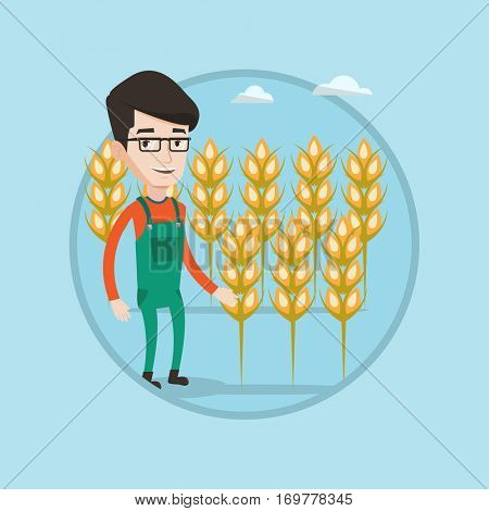 Farmer standing on the background of wheat field. Smiling caucasian farmer working in wheat field. Farmer checking wheat harvest. Vector flat design illustration in the circle isolated on background.
