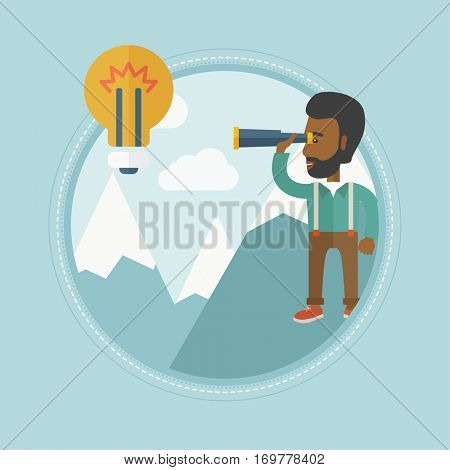 An african businessman standing on the peak of mountain and looking through spyglass at idea bulb. Man looking for business idea. Vector flat design illustration in the circle isolated on background.