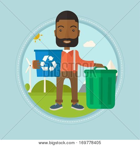 An african-american man carrying recycling bin. Man with recycling bin standing near a trash can on the background of wind turbine. Vector flat design illustration in the circle isolated on background