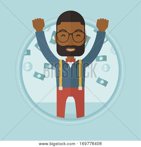 African-american successful businessman standing with raised hands under money rain. Excited businessman enjoying a rain of money. Vector flat design illustration in the circle isolated on background.