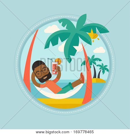 An african-american man chilling in hammock with a cocktail on the beach. Cheerful tourist drinking a cocktail on the beach. Vector flat design illustration in the circle isolated on background.