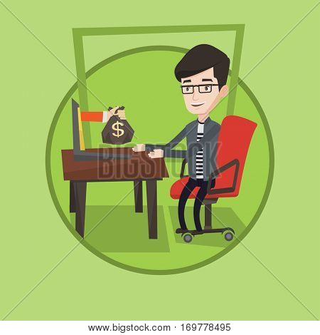 Happy businessman getting bag of money from his laptop. Businessman earning money from online business. Online business concept. Vector flat design illustration in the circle isolated on background.