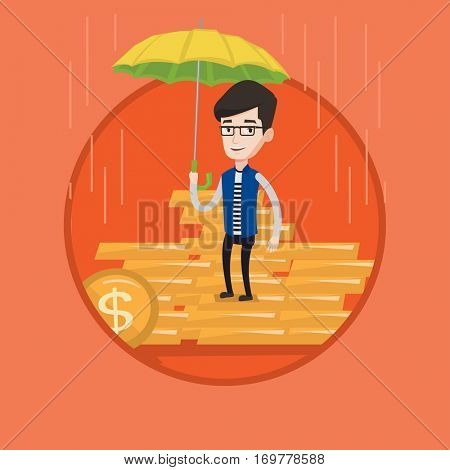 Caucasian insurance agent. Insurance agent holding umbrella over golden coins. Business insurance and business protection concept. Vector flat design illustration in the circle isolated on background.