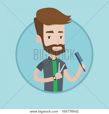 Full length of young hipster barber with beard holding comb and scissors in hands. Professional barber ready to do a haircut. Vector flat design illustration in the circle isolated on background.