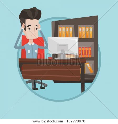 Tired employee sitting at workplace. Worried employee working in the office. Overworked employee clutching his head in the office. Vector flat design illustration in the circle isolated on background.