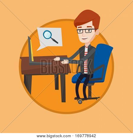 Caucasian businessman working on laptop in office and searching information on internet. Internet search and job search concept. Vector flat design illustration in the circle isolated on background.